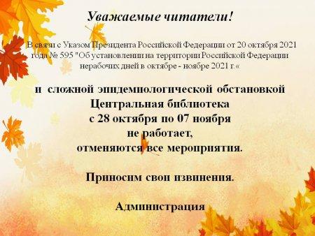 Друзья! К сожалению, с 28 октября по 7 ноября библиотеки закрыты. Все мероприятия отменяются или переносятся.